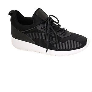 FOREVER LINK Black Textured Riancy Sneakers